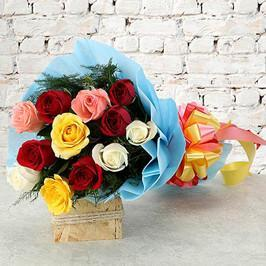 Mixed Roses with Love - for Online Flower Delivery In Anniversary Flowers