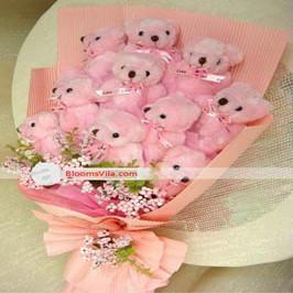 Cute pink teddy bouquet - for Flower Delivery in India