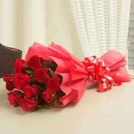 Sweet Red Love- 12 Red Roses Bouquet - for Online Flower Delivery In Bhubaneswar