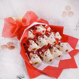 Red and White Teddy love - from Best Flower Delivery in India