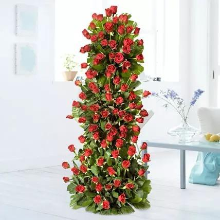 100 Red Roses Tall Arrangement - Send Flowers to India