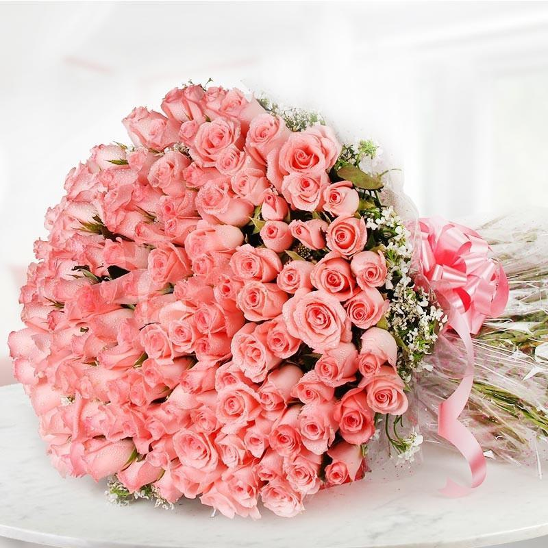 Mega 100 Pink Roses-100 pink roses bouquet - for Midnight Flower Delivery in India