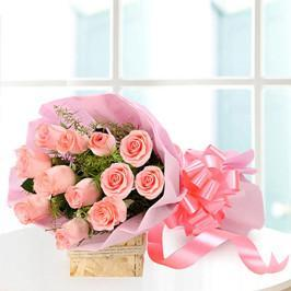 Exotic Pink Love- 12 Pink Roses Bouquet - from Best Flower Delivery in Bangalore