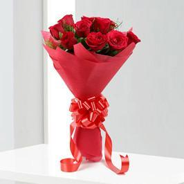 Bright Red Love- 10 Red Roses Bouquet - for Midnight Flower Delivery in India