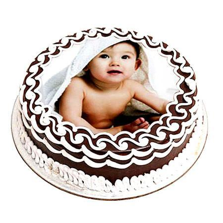 Chocolate Photo Cake One Kg - for Midnight Flower Delivery in Mumbai