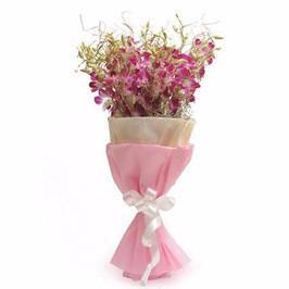 20 Purple Orchids Premium Bunch - for Online Flower Delivery In Ahmedabad Usmanpura