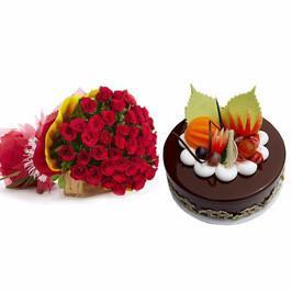 20 Red Roses and Chocolate Cake combo - for Midnight Flower Delivery in India