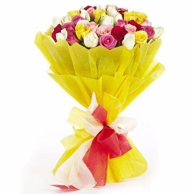 30 Mixed Roses Premium Bunch - Blooms Villa