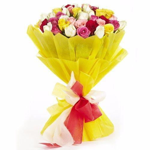 30 Mixed Roses Premium Bunch - for Flower Delivery in Rs 500 to Rs 1000