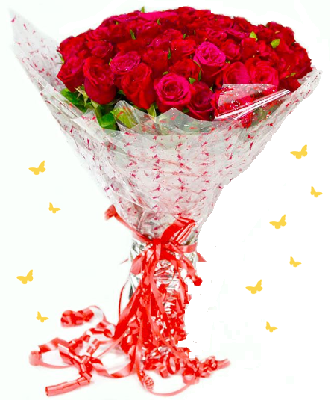 Pure Romance 20 Red Roses Bouquet - for Flower Delivery in India