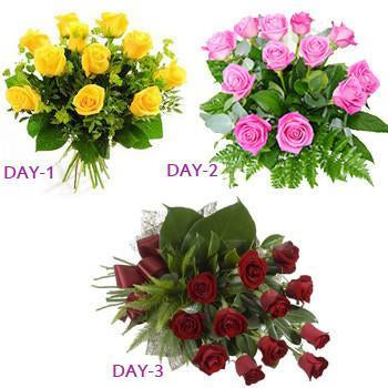 Lovely 3 Day Love - for Midnight Flower Delivery in India