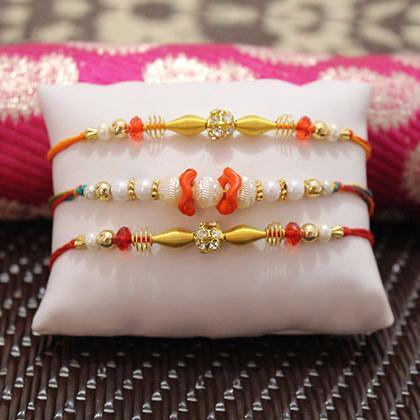 A set of 3 Rakhi - for Online Flower Delivery In Occasion Rakhi For Brother