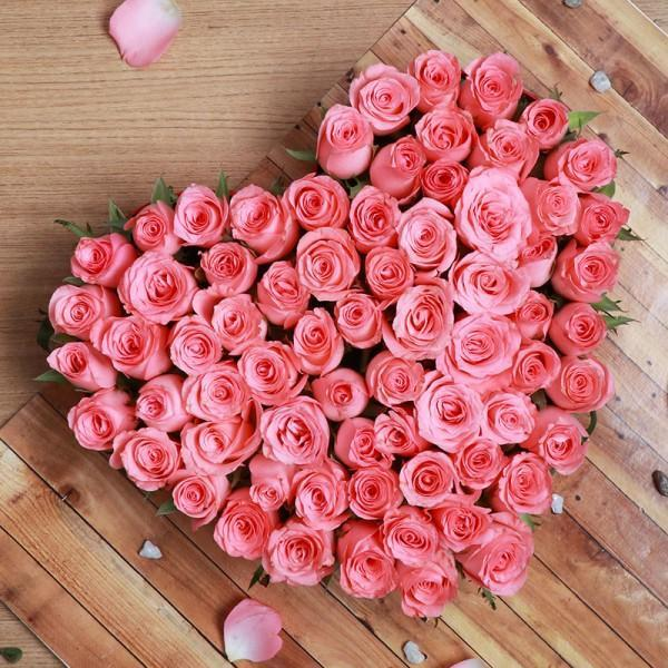 40 Pink Roses Heart Shape Valentine Arrangement - for Midnight Flower Delivery in India