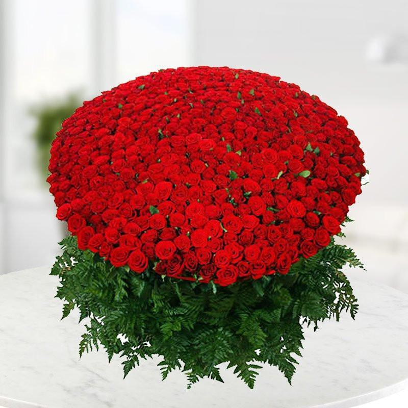 1000 Red Roses Bouquet - for Midnight Flower Delivery in India