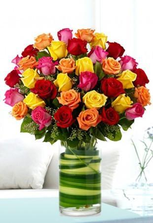 Multi colored Rose arrangement - Send Flowers to India