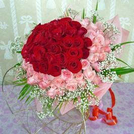 60 Red and Pink Roses Bouquet - from Best Flower Delivery in India