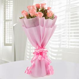 Mini Pink Love-light pink rose bouquet - for Flower Delivery in Occasion Rakhi Gifts For Sisters