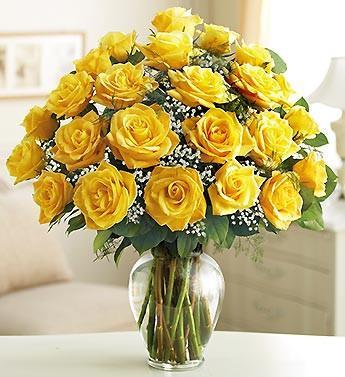 Bright Sunshine-Yellow Roses With Vase - for Flower Delivery in Category | Flowers |