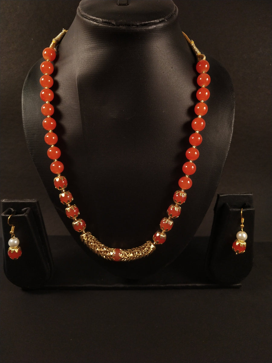 Bead Adorned Necklace in Orange - for Online Flower Delivery In India
