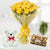 Beautiful Day- - for Midnight Flower Delivery in Valentine Gifts For Girlfriend -This impressive combo consists of: 12 Beautiful Yellow Roses 16 Pcs Ferrero Rocher A 6 inch cute Teddy