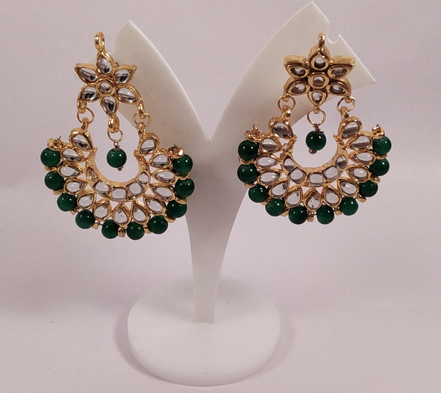 Beautiful Green Jhumkas - for Flower Delivery in India
