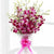 Blooming Joy- Orchids Bouquet--If romance is in the air, send this sensational orchid bouquet which is both glamorous and breathtakingly beautiful. Featuring bunch of 6 orchids wrapped in cellophane paper elegantly hand-tied with satin bow