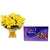Crispy Yellow- Best Gift Delivery in City Gifts Hyderabad - This exciting combo of Flowers and Chocolates contains: 10 fresh Yellow Lilies bunch One Cadbury Celebrations While we always strive to ensure that products are accurately represented in our photographs, from season to season and subject to availability, our florists may be required to substitute one or more flowers for a variety of equal or greater quality, appearance and value.