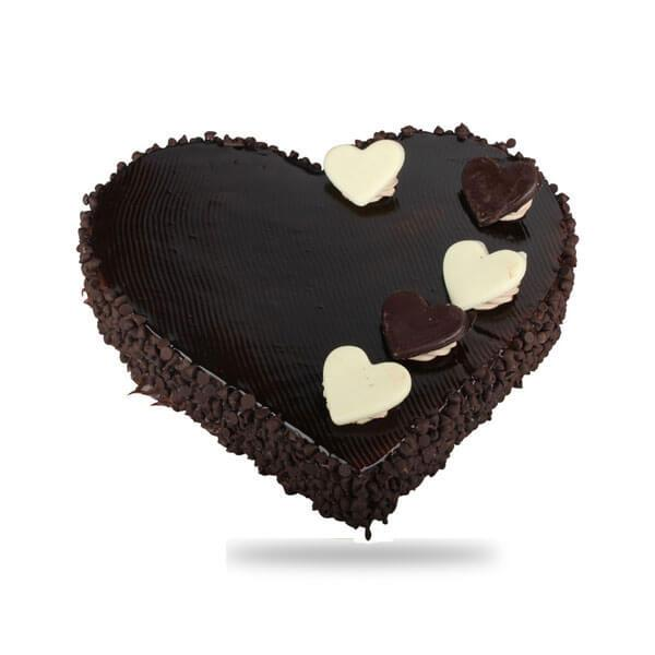 Choco Truffle Heart Shaped Cake - for Online Flower Delivery In India