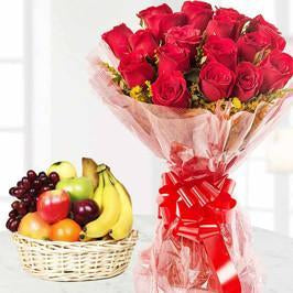 Classic Red Rose and Fruits Combo - for Flower Delivery in Occasion Gifts Christmas