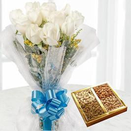 Classic White Rose and Dry Fruit Combo - for Flower Delivery in India