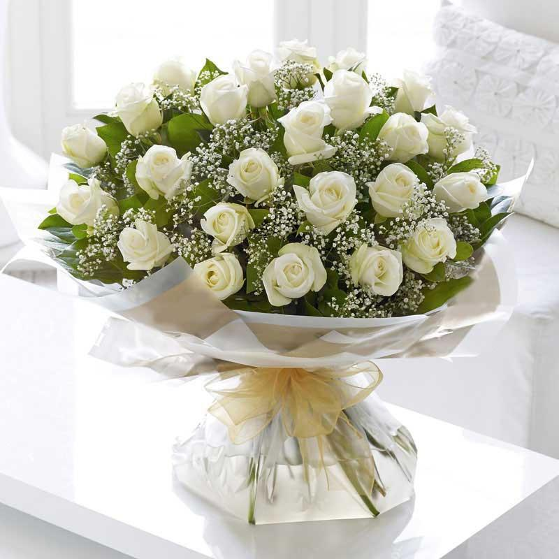 Love For Mother-white rose flower bouquet - for Online Flower Delivery In India