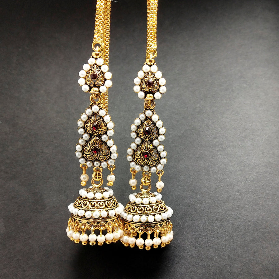 Designer White and Golden Earrings - from Best Flower Delivery in India