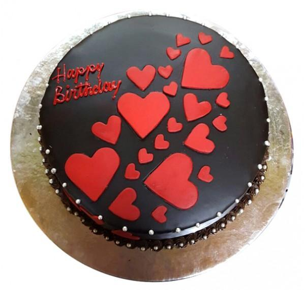 Double Hearts Chocolate Cake - for Flower Delivery in India