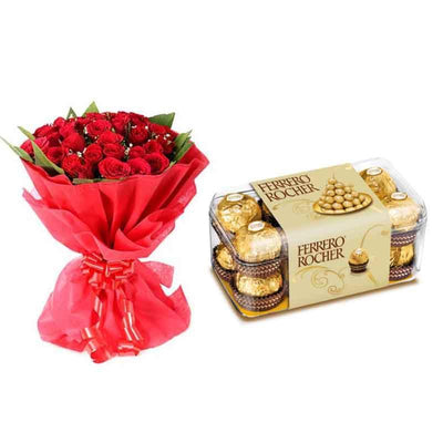 Sweet Connection Red Roses and Ferrero combo-BloomsVilla