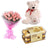 Cute Combo- Gift Delivery in Category | Gifts | Combos - This exciting flowers, Teddy and chocolate combo contains: 10 fresh pink Roses 16 pcs Ferrero Rocher chocolate One 6 inch Teddy While we always strive to ensure that products are accurately represented in our photographs, from season to season and subject to availability, our florists may be required to substitute one or more flowers for a variety of equal or greater quality, appearance and value.