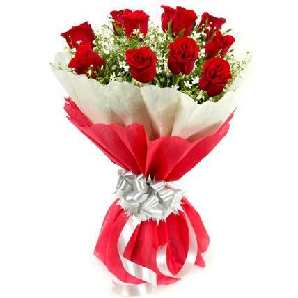 My Lady Love- Red Rose Flower Bouquet - for Midnight Flower Delivery in India
