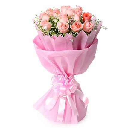 Lovely Pink Bouquet-pink rose flower bouquet - from Best Flower Delivery in India
