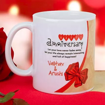 Lovely Anniversary Mug - for Midnight Flower Delivery in India