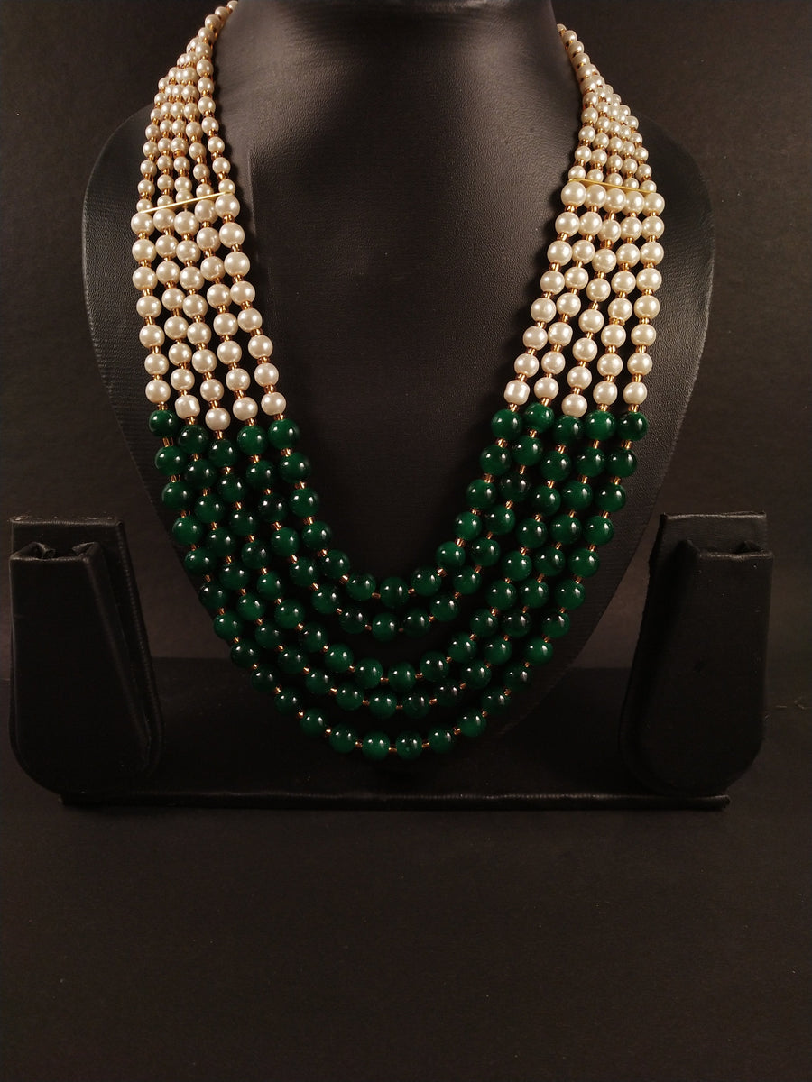 Multilayer Pearl Set in Green - from Best Flower Delivery in India