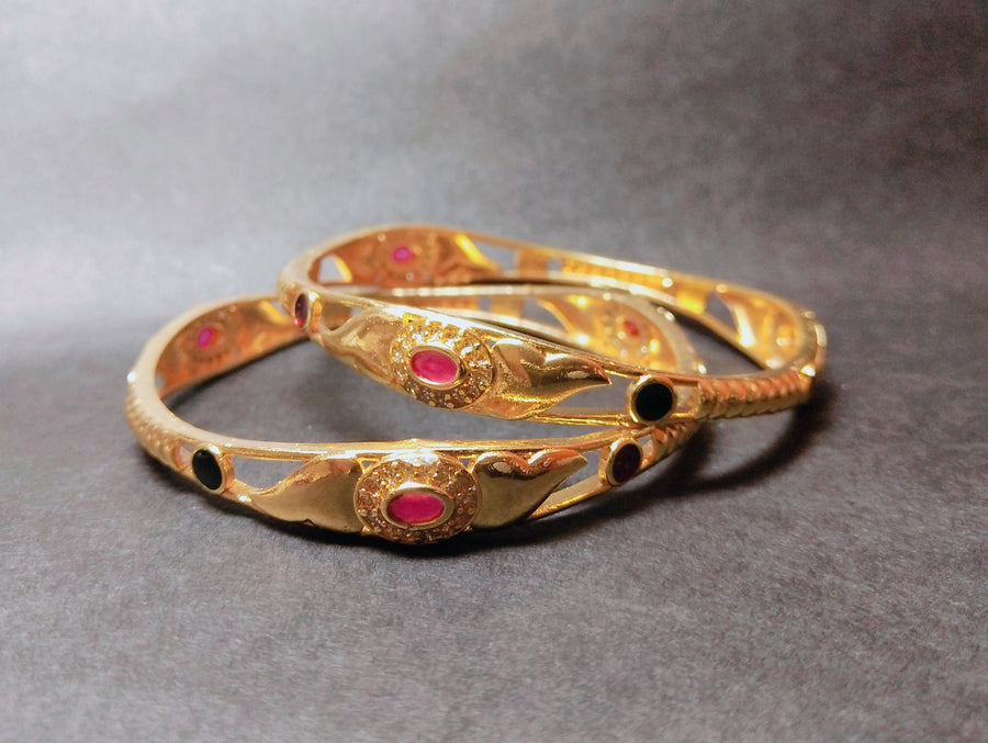 Oval Gemstone Emblished Bangles - for Online Flower Delivery In India