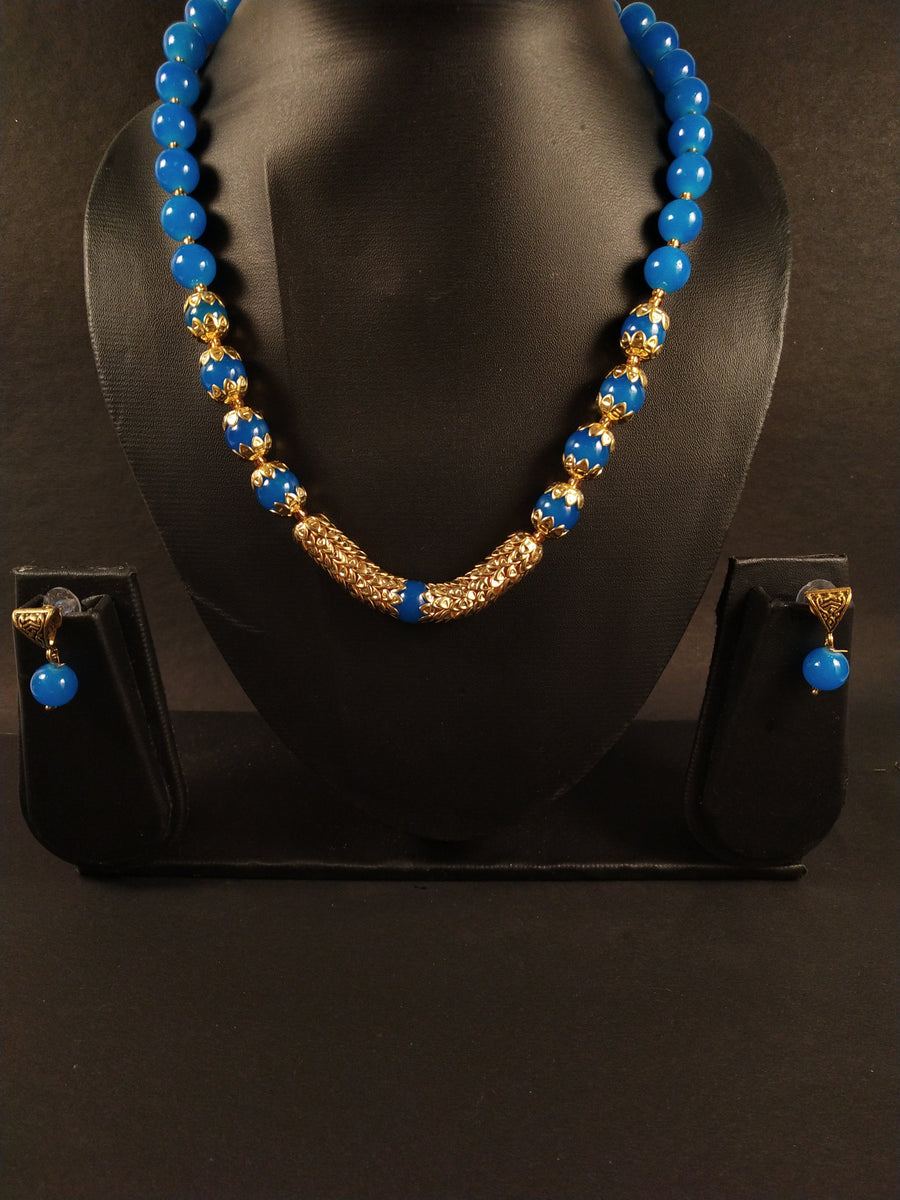 Pearl Set in Blue - for Midnight Flower Delivery in India