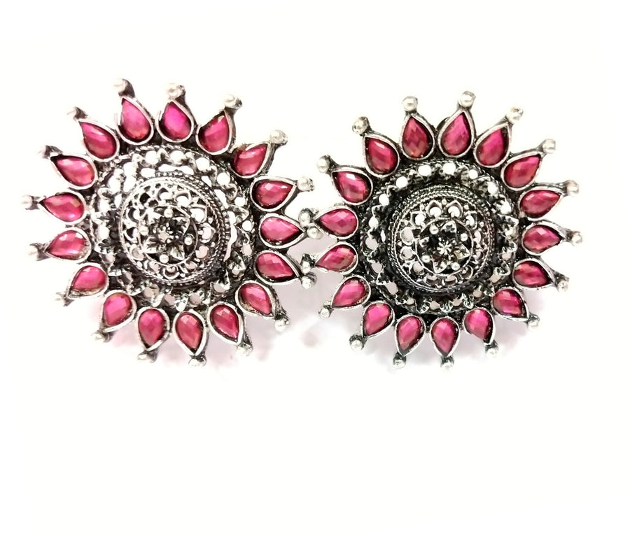 Pink and Silver Earrings - from Best Flower Delivery in India