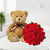 Pure Romance With Teddy- -This is a combo of  12 lovely red roses and one 12 inches big teddy which is made to make someone feel very special. Send this to your loved ones on any special day or just trying to make up.