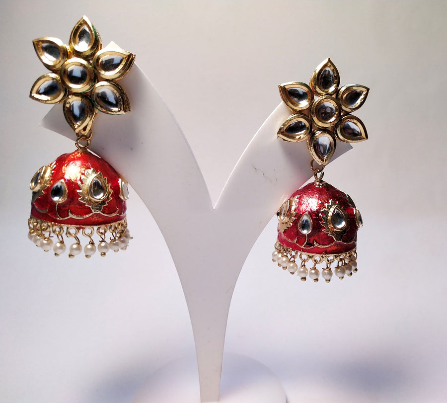 Red Jhumkas - for Online Flower Delivery In India