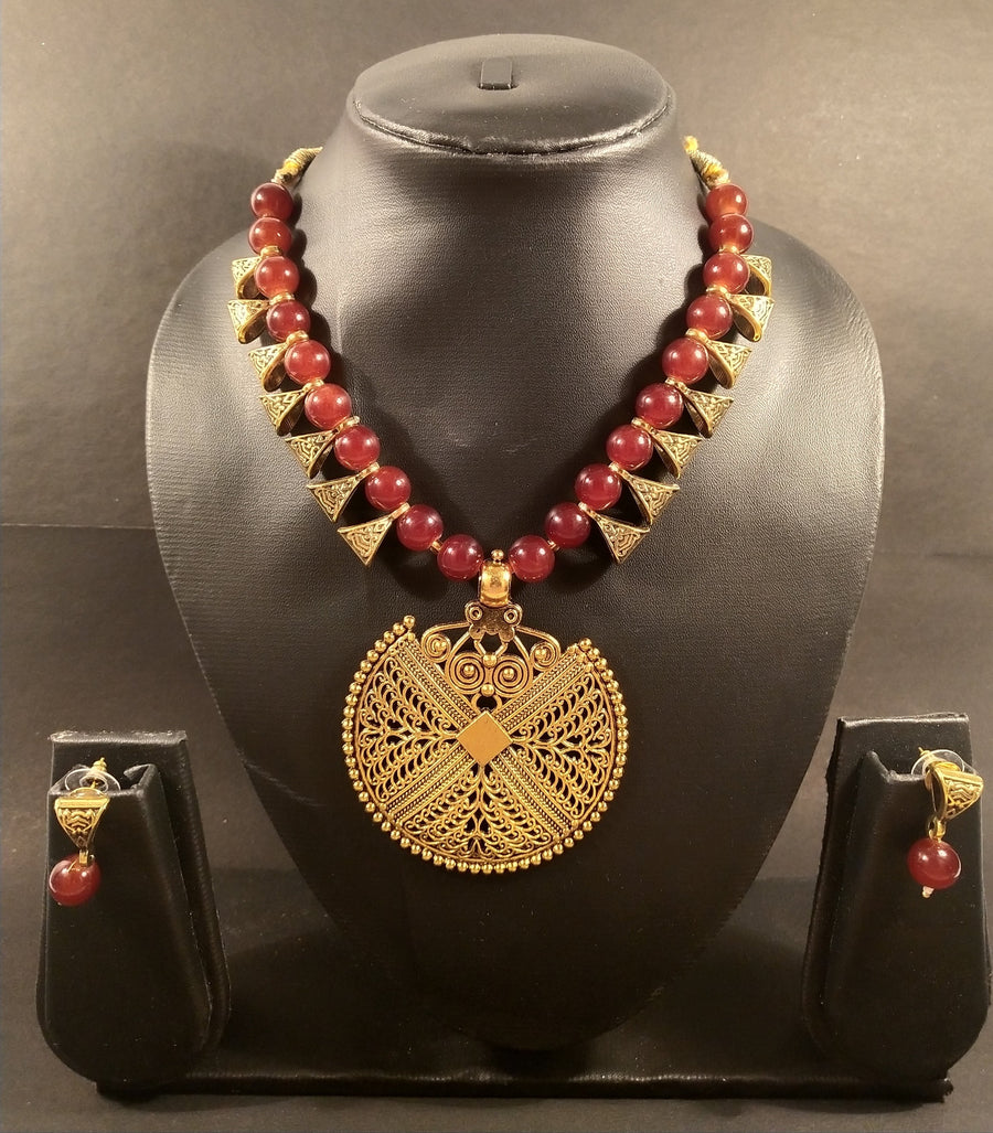 Red Pearl Beaded Long Pendant Necklace - for Flower Delivery in India