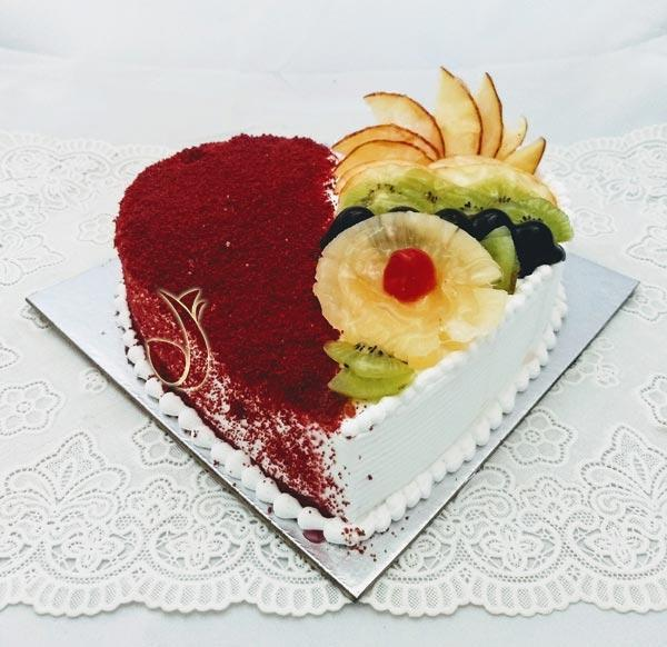 Red Velvet Cake Mixed Fruit Cake - for Midnight Flower Delivery in India