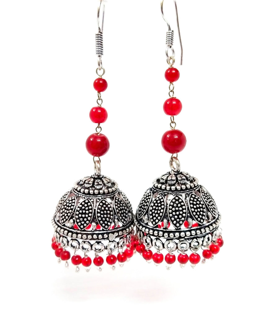 Red embellishment elegant jhumka - for Midnight Flower Delivery in India