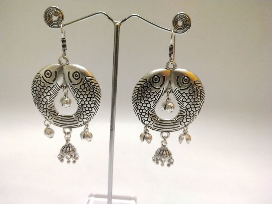 Silver Jhumka Style Earrings - for Flower Delivery in India