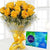 Sunshine Celebration- - for Flower Delivery in Occasion Gifts New Year -Send these yellow roses to special someone to fill their day with the sunshine along with Cadbury celebration. This combo is for sending it to your friend or family member to brighten their day with stunning roses. The Combo Consist of 12 Yellow Roses wrapped in cellophane paper with an elegant hand-tied bow Celebration Pack of 141 gm