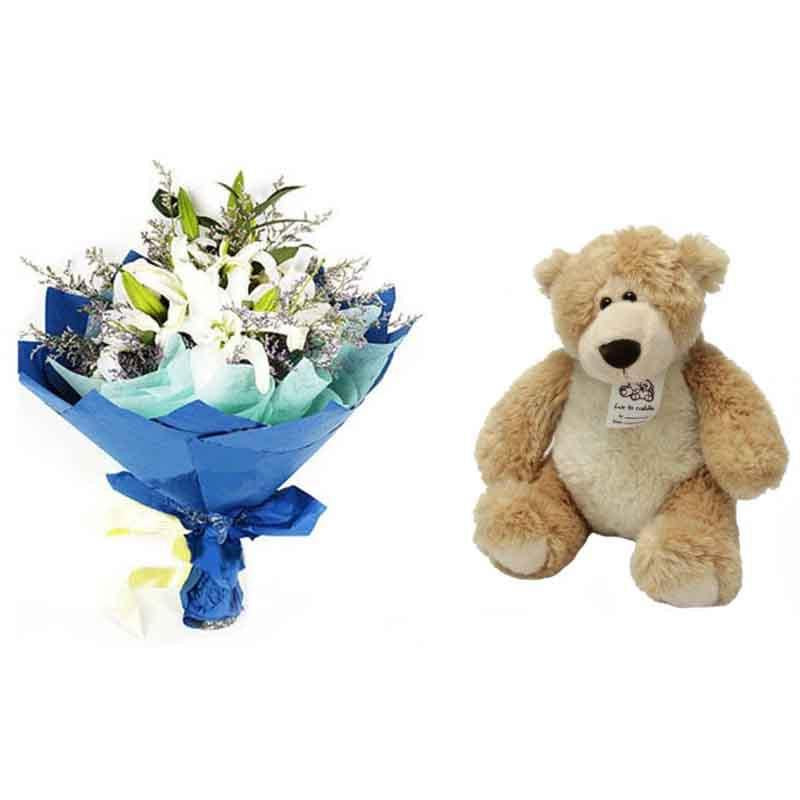 White Lily and Teddy combo - for Online Flower Delivery In Category | Flowers | Flowers and Teddy Combo